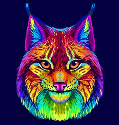 lynx abstract neon multicolored portrait vector image