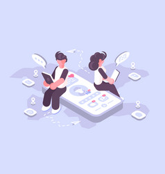 Man and woman using social media on modern gadgets vector