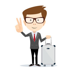 man holding modern suitcase with wheels flat vector image