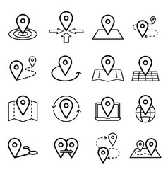 map pins related icon set symbols isolated vector image