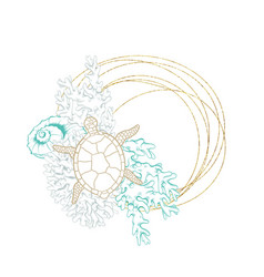 Marine wreath seashell turtle gold line art vector