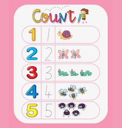 Math number count worksheet vector