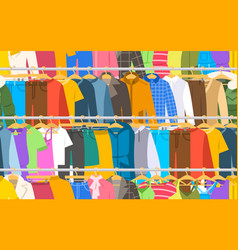 men women clothes on hanger rack seamless pattern vector image