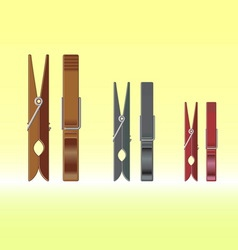 Metal clothes pin set vector