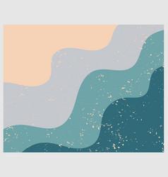 Modern geometric sea waves print warm neutral art vector