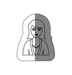 Monochrome contour sticker with half body woman vector
