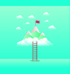 mountains with flag with stair vector image