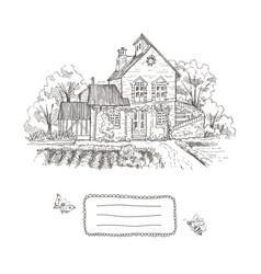 Old farmhouse and garden frame vector