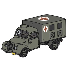 Old military ambulance vector image
