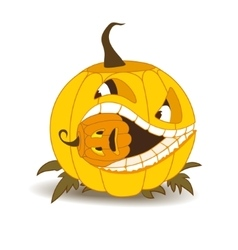 Orange pumpkin with white teeth and a squint vector