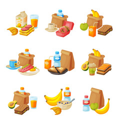 paper packaging with healthy breakfast set school vector image