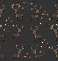 pattern with horned deer vector image