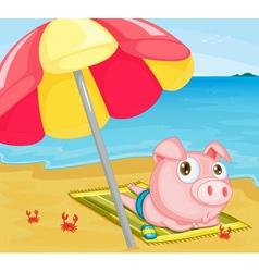 Pig at the beach vector image