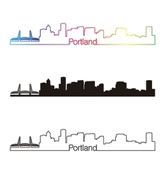 Portland skyline linear style with rainbow skyline vector