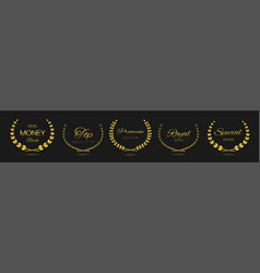 Premium quality golden laurel wreath label set vector