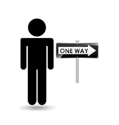 Road sign one way silhouette man vector