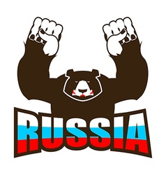 Russian bear angry beast predator and russia flag vector