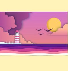 sea or ocean landscape sea beach with lighthouse vector image