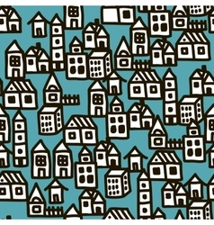 Seamless pattern with city buildings vector image