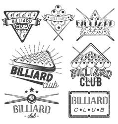 set billiard labels in vintage style vector image