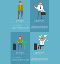 set icons successful man vector image