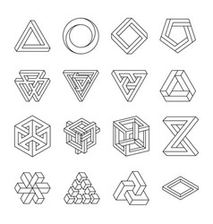 Set impossible shapes optical illusion vector