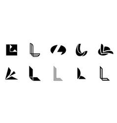 set of letter l logo vector image