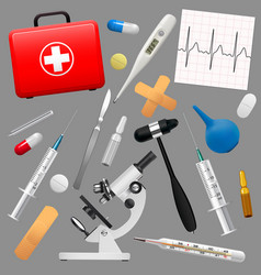 set of medical instruments and preparations first vector image