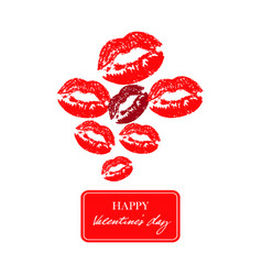 set of red kiss imprint lipsticks prints vector image