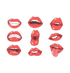 set red women s lips with different emotions vector image