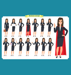 set young businesswoman presenting vector image