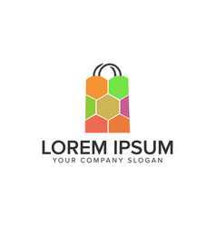 shopping bag logo design concept template fully vector image