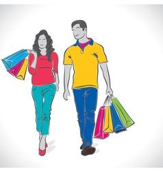 shopping couple stock vector image