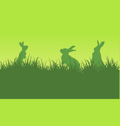Silhouette of bunny on green backgrounds vector