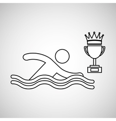 Silhouette person swimm winner sport vector