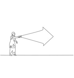 single one line drawing young arabian vector image