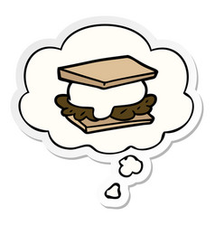 Smore cartoon and thought bubble as a printed vector