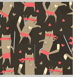superhero cat seamless pattern cute design vector image