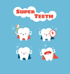Superhero smiling kids teeth characters vector
