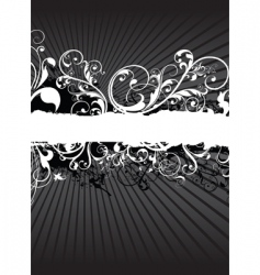 swirling floral background banner vector image