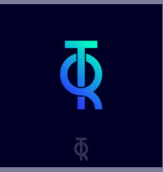 T q monogram intertwined blue letters vector