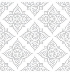 Thai flowers seamless pattern asian floral design vector
