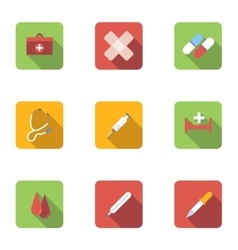 Treatment icons set flat style vector