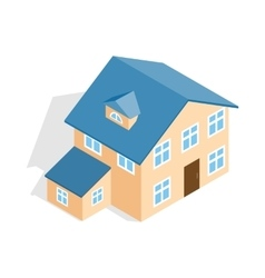 Two storey house with annexe icon vector image
