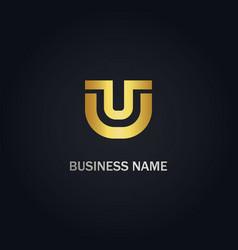 u shape initial logo vector image