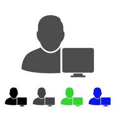 User computer flat icon vector