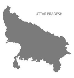 Uttar pradesh india map grey vector