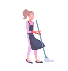 woman mopping floor with mop housewife wearing vector image