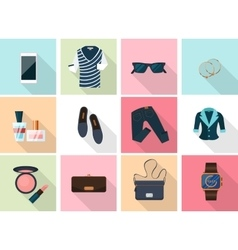 Women clothes and accessories icons in flat style vector