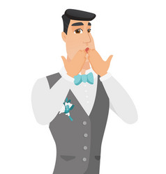 Young shoked caucasian groom covering his mouth vector